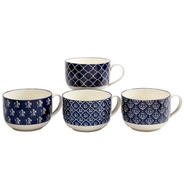 Certified International Blue Indigo 32 oz. Jumbo Cups in Assorted Designs Set of 4 30110170