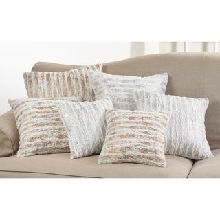 Faux Fur with Brushed Metallic Foil Print Down Filled Throw Pillow
