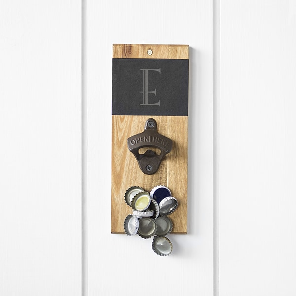 Personalized Slate & Acacia Wall Mount Bottle Opener with Magnetic Cap Catcher 30128326