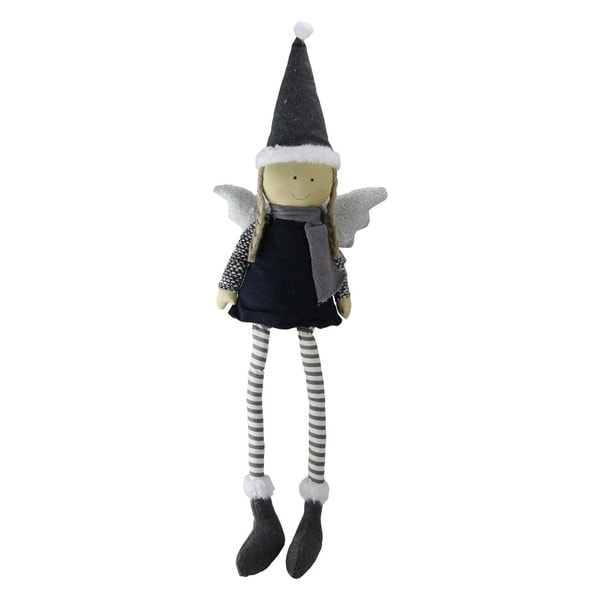 "26.5"" Sitting Girl Angel with Dangling Legs and Glitter Hat Tabletop Decoration 30128917"