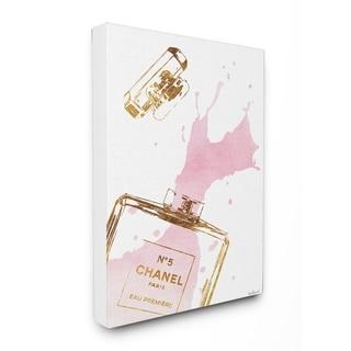 Glam Perfume Bottle Splash Stretched Canvas Wall Art