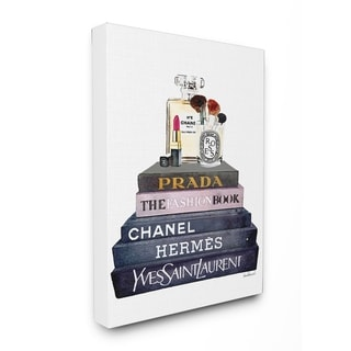 Glam Fashion Books with Makeup Stretched Canvas Wall Art