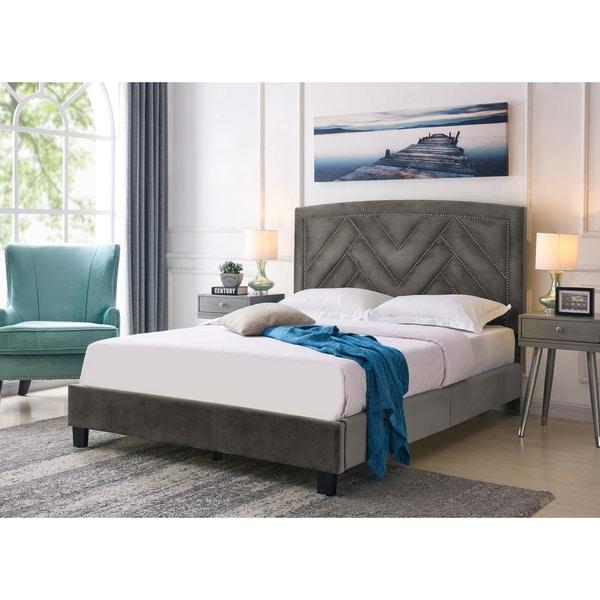 Handy Living Abingdon Queen-sized Mink Grey Velvet Upholstered Bed 30133997