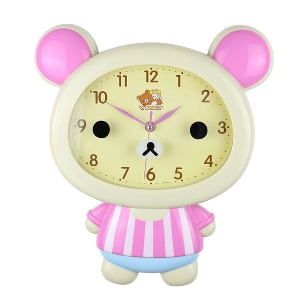 "Kid's Wall Clock, 14"" Beige Bear"