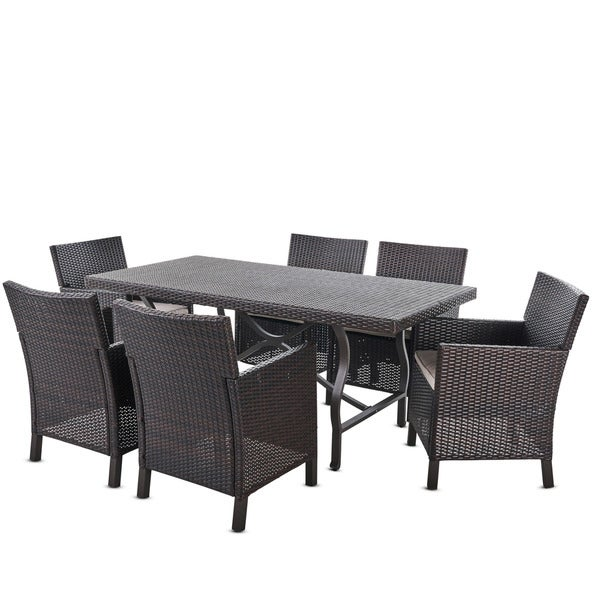 Arlo Outdoor 7-piece Rectangular Wicker Aluminum Dining Set with Cushions by Christopher Knight Home -  302352