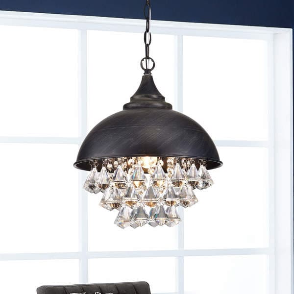 Visalia Antique Black Single Light Crystal Chandelier 30165622