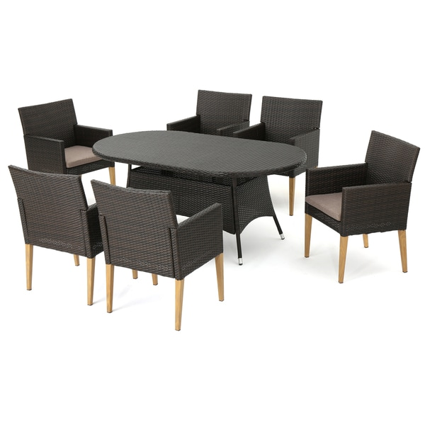 Barnett Outdoor 7-piece Oval Wicker Dining Set with Cushions by Christopher Knight Home -  302549