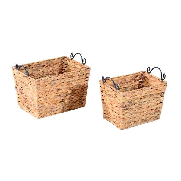 HomCom 2 Piece Wicker Nesting Baskets