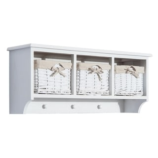 "HomCom 31"" Hanging Entryway Cubby Storage Shelf w/ 3 Baskets and Hooks (White)"
