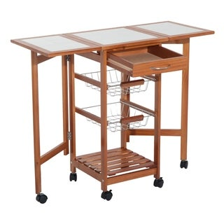 HomCom Folding Rolling Trolley Kitchen Cart Table Island with Basket