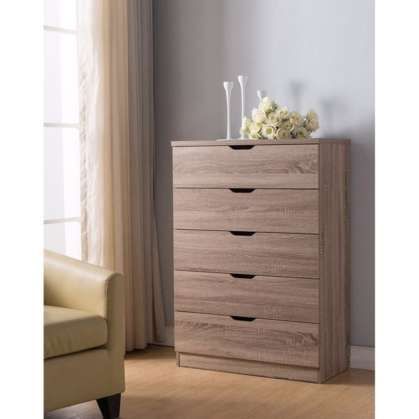 Benzara Grey Wood 5-drawer Storage Chest 30167546