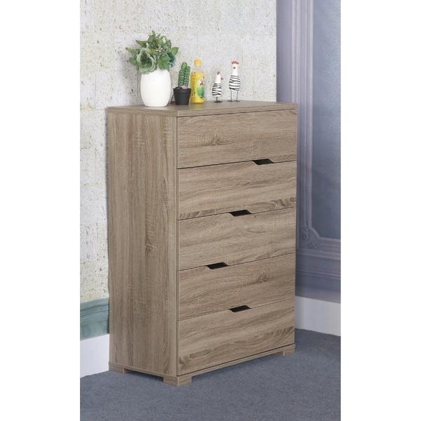 Benzara Capacious Grey Wood 5-drawer Chest 30167552
