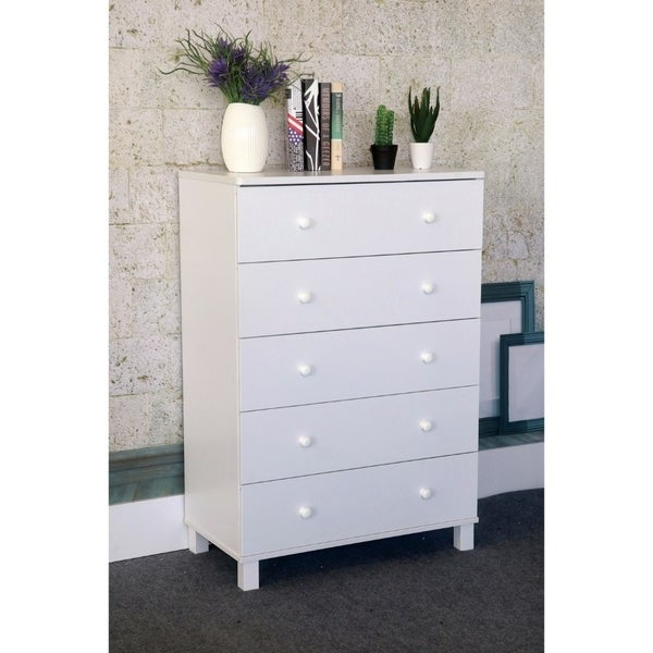 Benzara White Wood 5-drawer Chest 30167576
