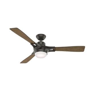 """Hunter Fan 54"""" Signal Noble Bronze w / 3 Worn Oak / Walnut Rev Blds"""