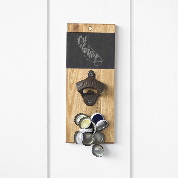My State Slate & Acacia Wall Mount Bottle Opener with Magnetic Cap Catcher 30170410