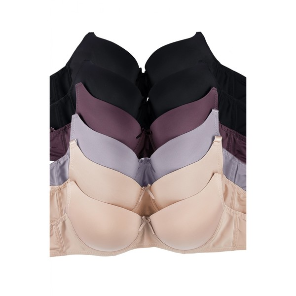 Mamia 6-Pack D-Cup Full Coverage Solid Bras (Assorted Colors) 30171625