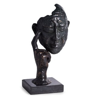 """Thinking Man"" Sculpture with Bronzed Finish on Marble Base."