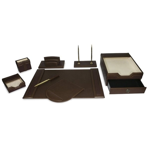Majestic Goods 8 Piece Brown PU Leather Desk Organizer Set With Double Stack Letter Tray 30172814