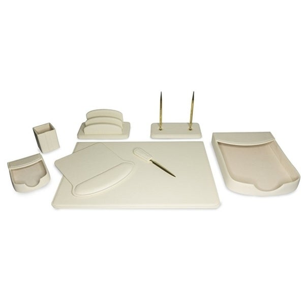 Majestic Goods 8 Piece Beige PU Leather Desk Organizer Set 30172822