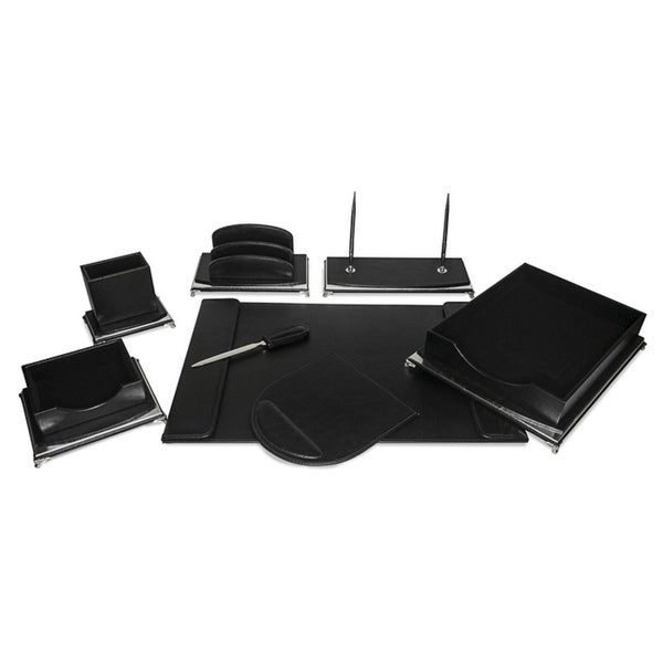 Majestic Goods 8 Piece Black PU Leather Desk Organizer Set 30172823