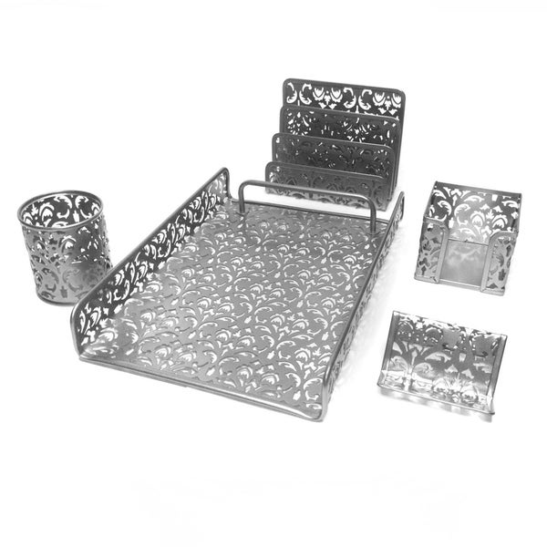 Majestic Goods 5 Piece Silver Flower Design Punched Metal Mesh Office Desk Accessories Organizer 30172832