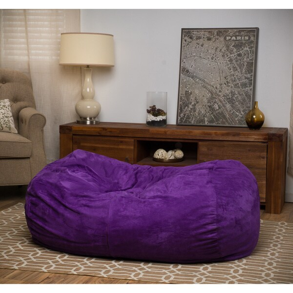 Delilah Fabric 4-foot Lounge Beanbag Chair by Christopher Knight Home in Purple (As Is Item) 30178893