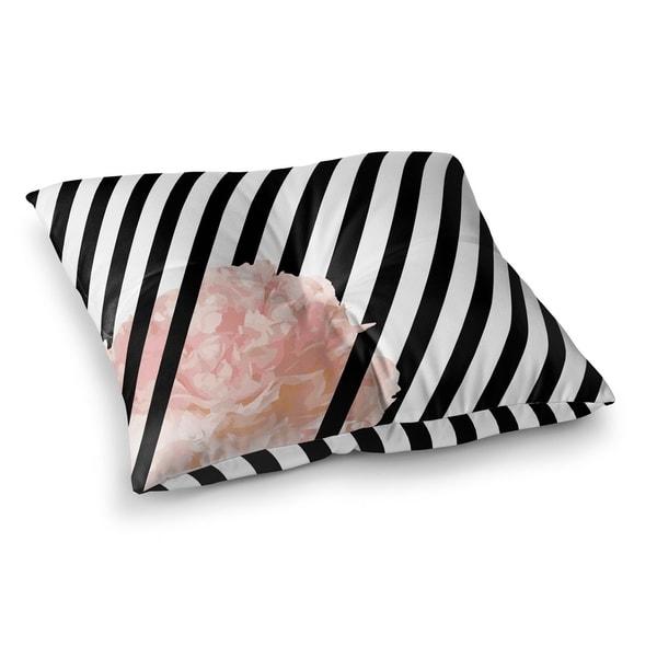 Kavka Designs Peony Stripe  Black/White/Pink Floor Pillow 30183051