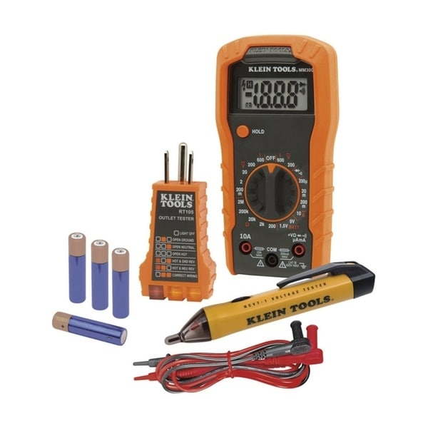 Klein Tools  Electrical Tester Set  Automatic  Orange  LCD 30187729