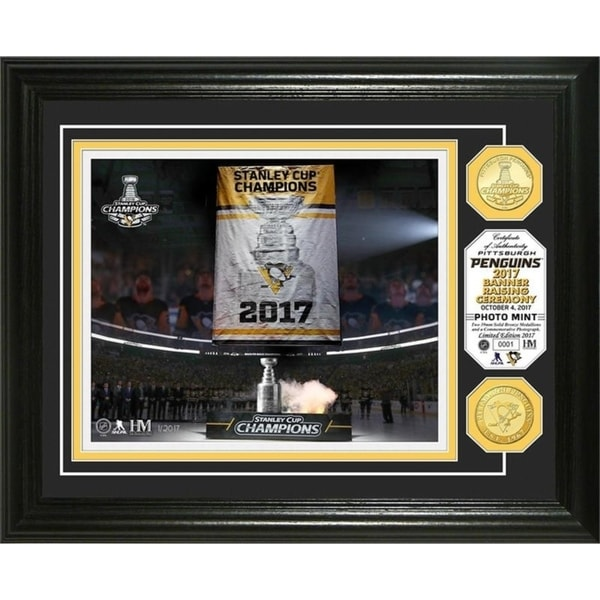 Pittsburgh Penguins 2017 Champions Banner Raising Photo Mint 30188947