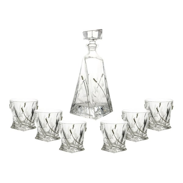 7-Pc set of twisted shaped liquor bottle / decanter and D.O.F. glasses with crystal decorations 30189092