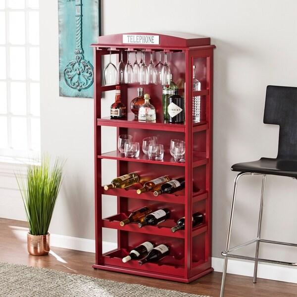 Harper Blvd Nigel Phone Booth Bar Cabinet w/ Wine Storage - Rich Burgundy Red 30189125