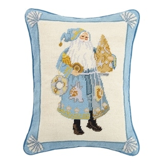 Lynn Haney Coastal Christmas Santa Needlepoint Pillow