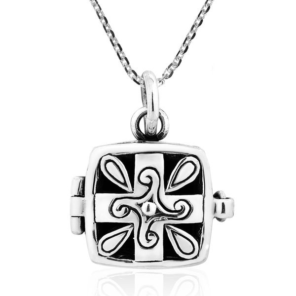 Square Cross Quad Spiral Prayer Box Sterling Silver Locket Necklace 30194529
