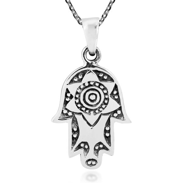 Hand of Hamsa Protection Symbol Sterling Silver Necklace (Thailand) 30194540