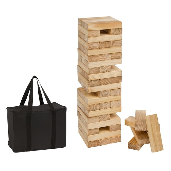 60 Piece 2' Tall Giant Wooden Stacking Puzzle Game with Carry Case by Trademark Innovations 30197881