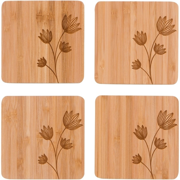 """4"""" Square Bamboo Coaster with Flower Design - Set of - 4 by Trademark Innovations 30197910"""