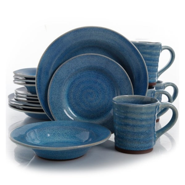 Gibson Elite Mariani 16 Piece Stoneware Dinnerware Set in Blue 30203294