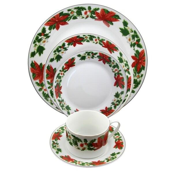 Poinsettia Holiday 20-Piece Dinnerware Set Decorated Rim 30203368