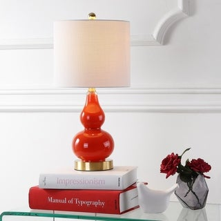 "Anya 20.5"" Mini Glass LED Table Lamp, Sunset Orange by JONATHAN Y"