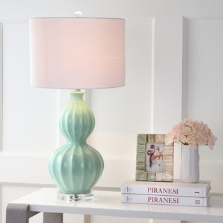 "Faye 28"" Glass LED Table Lamp, Seafoam Green by JONATHAN Y"
