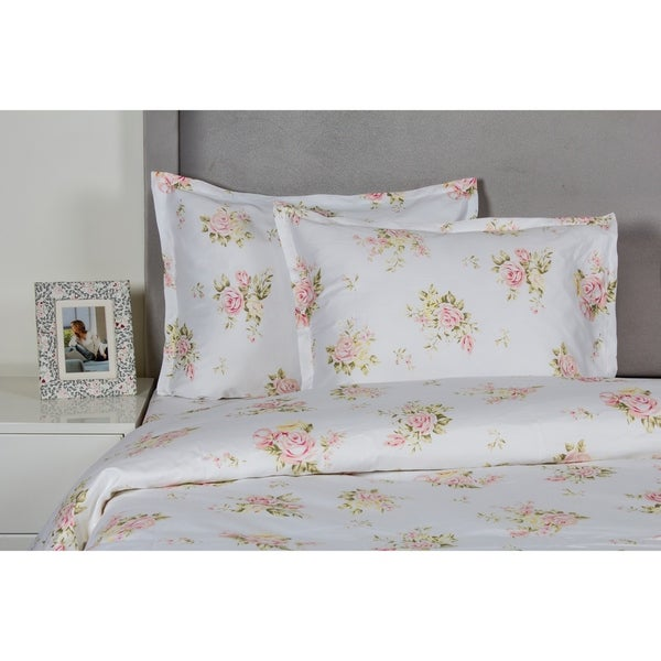 Printed Design Cotton Collection 400 Thread Count Rose Bouquet Embroidered Duvet Set 30214762