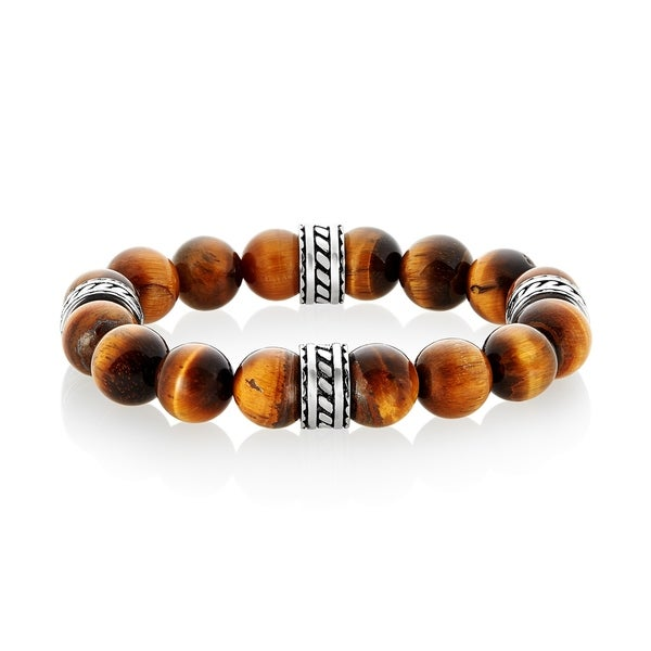 Crucible Stainless Steel Natural Stone Beaded Tribal Stretch Bracelet (10mm Wide) 30216009