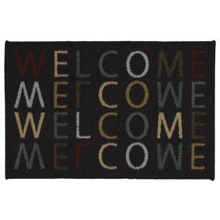 Ottohome Rectangular Welcome Design Non-slip Doormat