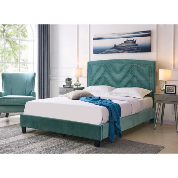 Handy Living Abingdon Queen-sized Turquoise Blue Velvet Upholstered Bed 30227059