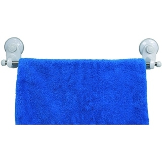 Evideco Wall Mounted Stainless Steel Towel Bar with 2 Screw-top Suction Cups White 30227596