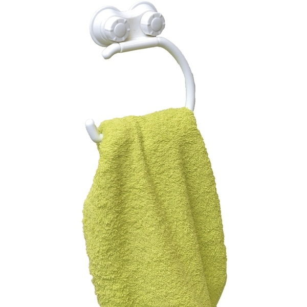 Evideco Bath Towel Ring Holder with 2 Screw-Top Suction Cups White 30227598