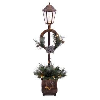 Puleo International 4 ft. Pre Lit Christmas Lamp Post with 35 Multi UL listed lights