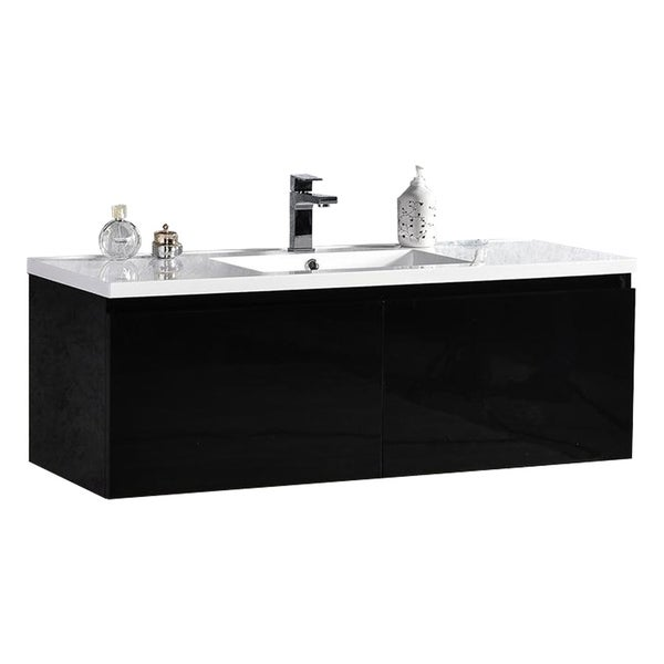 "Sunset 48"" LED Illuminated Single Sink Wall Mount Floating Bathroom Vanity with Acrylic Top 30237994"