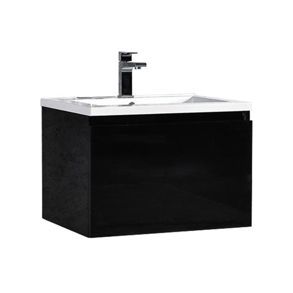 MTD Vanities Sunset Black/ White 24-inch LED Single Floating Bathroom Vanity 30238001