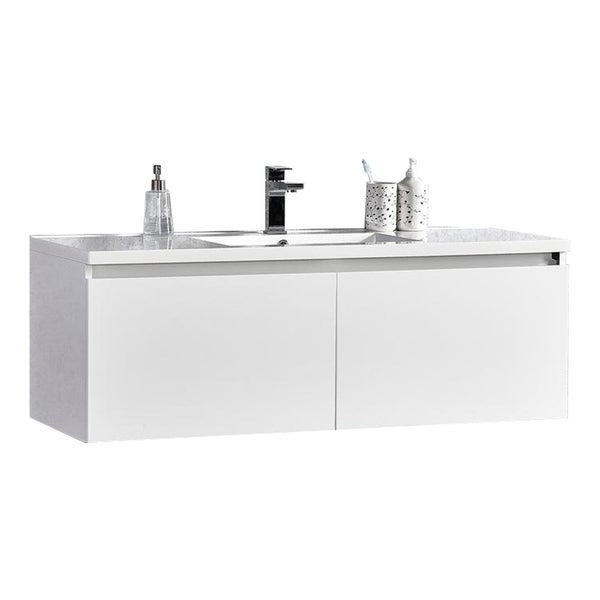 "Sunset 48"" LED Illuminated Single Sink Wall Mount Floating Bathroom Vanity with Acrylic Top 30238031"